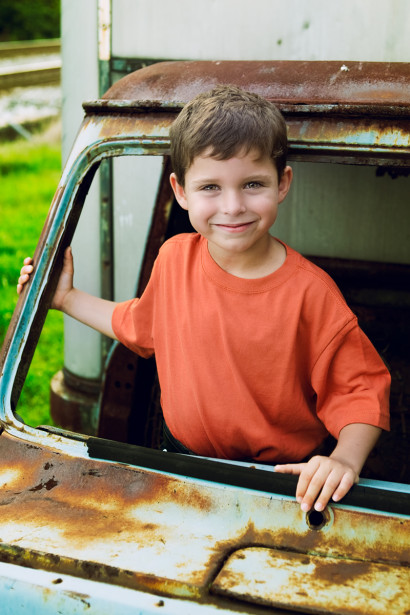 Boy and his truck portrait